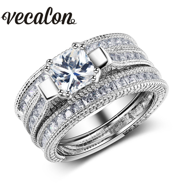 Vecalon Full Princess cut 10ct Simulated diamond cz 3-in-1 Engagement Wedding Band Ring Set for Women 14KT Gold Filled ring