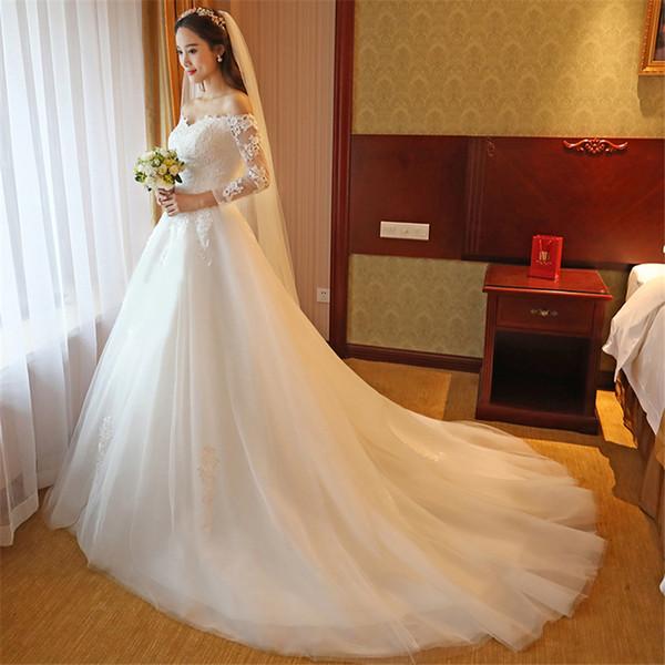 Элегантный белый часовня поезд тюль свадебные платья с плеча корсет обратно бальное платье невесты свадебное платье с кружевными аппликациями
