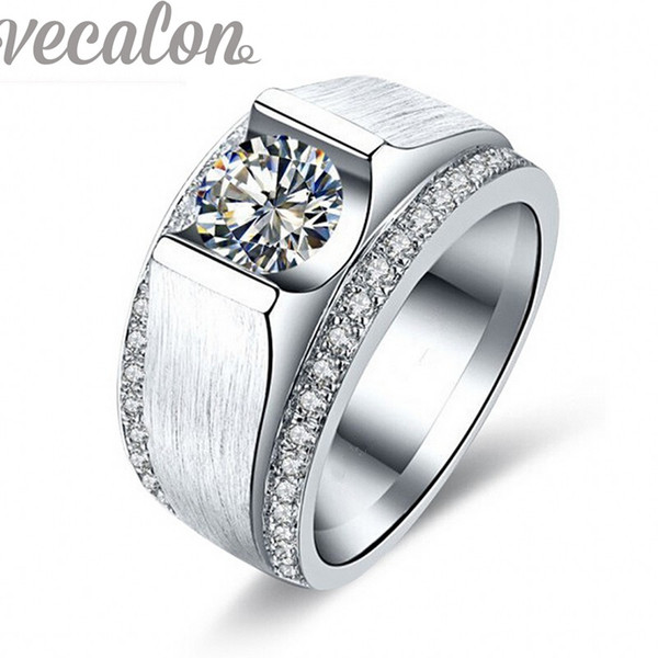 Vecalon 2016 New wedding Band ring for Men 2ct Cz diamond 925 Sterling Silver male Engagement Finger ring fashion Jewelry