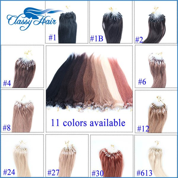 Micro boucle Extensions de cheveux 11 couleurs de cheveux Nano perles boucle Anneau Extensions de cheveux Disponible Droit de Remy 18 20 22 pouces En stock