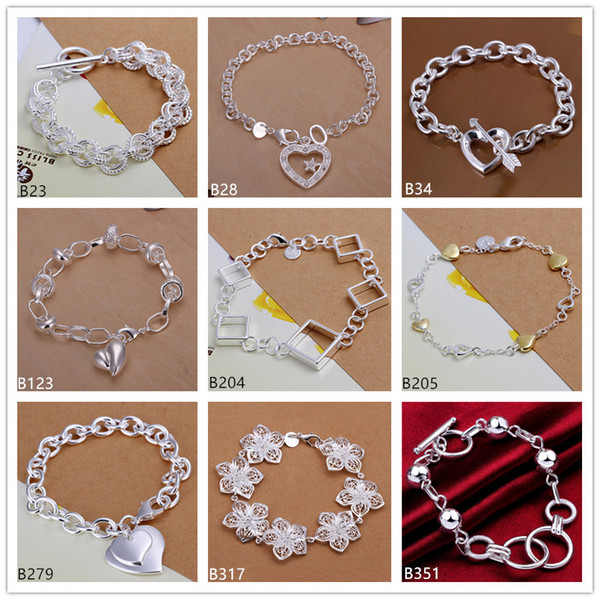 Heart diamond big flower sterling silver bracelet 8 pieces mixed style GTB7 Brand new high grade fashion women's 925 silver bracelet