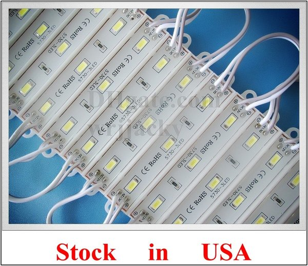 Stock in US SMD 5730 ( 5630 ) waterproof LED module back light backlight 3*SMD5730 1W 100lm IP66 75mm(L)*12mm(W) US stock CE