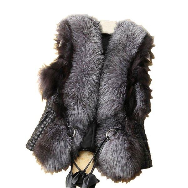 Осень женщины черный искусственный мех жилет теплая зима меховая куртка пальто д фото