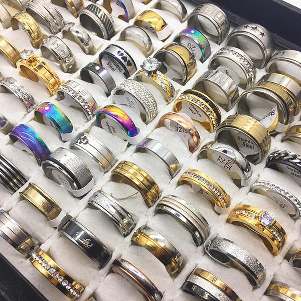 Женская мода 50 шт. / лот серебро золото из нержавеющей стали кольца партия свадебн фото