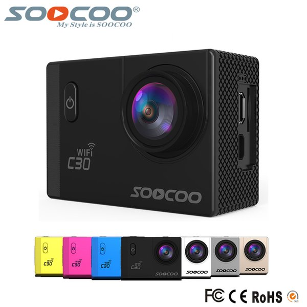 Vente en gros SOOCOO C30 Wifi 4K Gyro Les angles de vision réglable (70-170 degrés) 2.0 LCD NTK96660 30M action étanche Sport Caméra (5pcs / paquet)