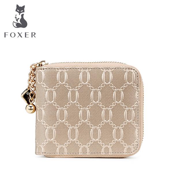 wholesale- foxer brand women leather short wallet girl wallet women's wallets female purse coin purse for women (403367713) photo