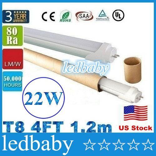Stock in US + 4ft 1200mm T8 Led Tube Light High Super Bright 18W 20W 22W Warm Cold White Led Fluorescent Bulbs AC110-240V UL