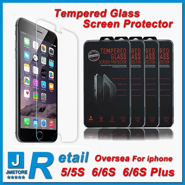 Retail- oversea tempered glass Top Quality iphone 6 tempered glass Screen Protector 0.26MM 9H 2.5D Arc Explosion Proof Free shipping