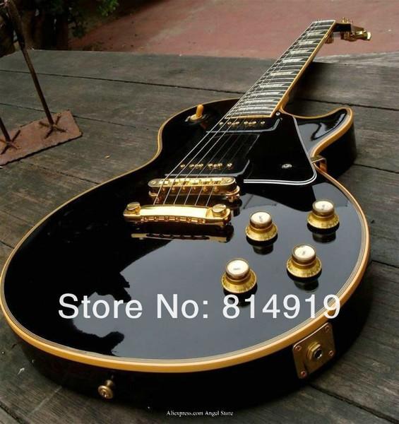 Custom Limited 1958 переиздание P90 пикап черный электрогитара крем 5 Ply привязки красное дерево корпус блок швабра накладка инкрустация золото оборудование