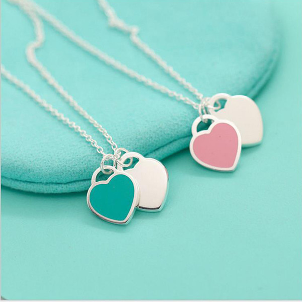 Silver plated lady heart necklace pink blue enamel love condole chain jewelry cu tomization whole ale