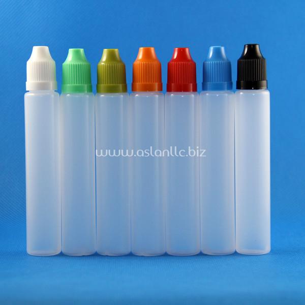 100 комплектов / лот 30 мл UNICORN Пластиковые бутылочки для бутылок Доказательство детского тонкого наконечника PE Safe для e Liquid Vapor Juice e-Liquide 30 мл