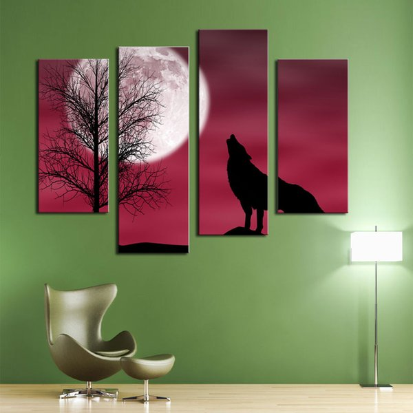 4 Picture Combination Red Howling Wolf In A Dark And Cloudy Night With Moon Red Background Animal Canvas Print Picture For Home Modern Decor