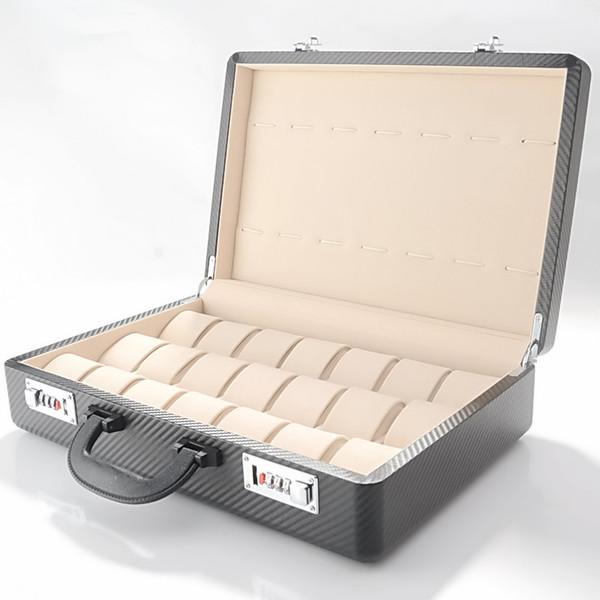 Новый деревянный Карбон ПУ кожа 21 Сетка 14 кулон наручные часы коробка Дисплей Коллекция Ящик Для Хранения Код Чехол чемодан высокого качества
