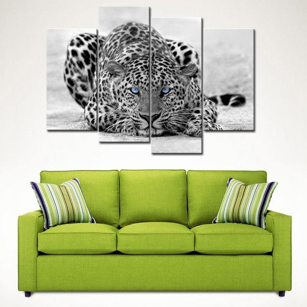 4 Picture Combination Black & White Wall Art Painting Blue Eyed Leopard Prints On Canvas The Picture For Home Decoration