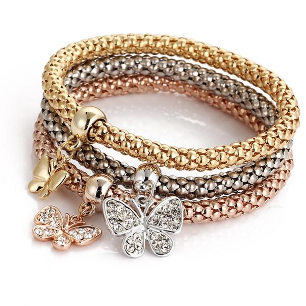 style_crystal_alloy_three_color_bracelets_set_elastic_popcorn_maize_chain_butterfly_pendant_bracelets_women_girls_charm_bracelets