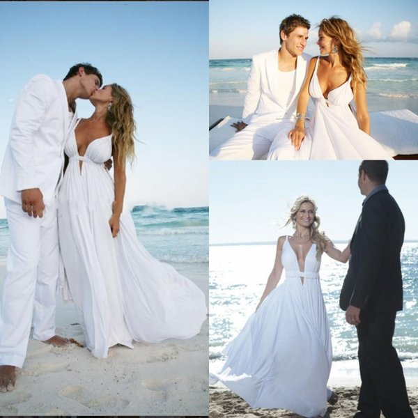 Cheap 2017 Chiffon Beach Wedding Dresses Spaghetti Straps Cut Out Plunging V Neck Summer Destination Wedding Dress Flowy Bridal Dresses