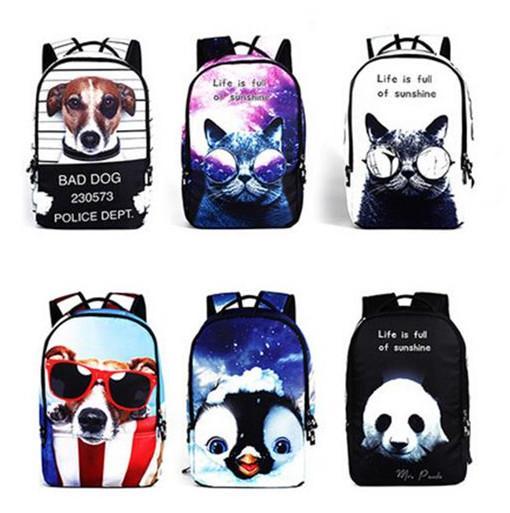 2016 новый стиль многофункциональный моды Рюкзаки животных Печатные 3D Рюкзаки школьные сумки для студентов на открытом воздухе Спорт Путешествия ноутбук рюкзак