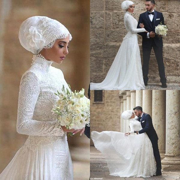 Long Sleeves Said Mhamad Muslim Wedding Dress High Jewel Neck Lace Long robe de mariage Islamic Arabic Wedding Dresses with Hijab BA1023