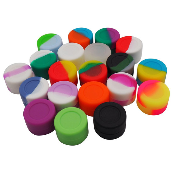 stock in USA! 1000pcs lot round shape non-stick silicone jars dab wax vaporizer silicone container free shipping 3ml