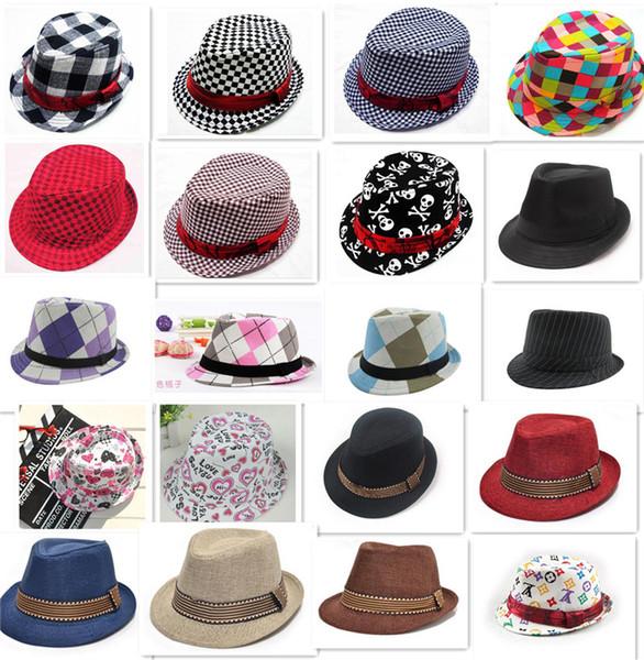 Шапки 21 дизайн мода унисекс Fedora трилби Hat детские дети аксессуары для детей шляпа фото