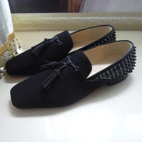 New black uede patent leather bu ine dre hoe de igner brand men piked ta el loafer wedding hoe de igner oxford 39 46