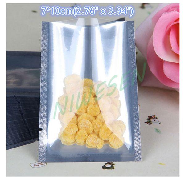 200 шт. / упак. x 7x10 см равнина карманный мешок алюминиевой фольги / lucencysilver алюминизированные майларовый шоколад упаковка мешок, тепла топ открыть запечатанные мешки