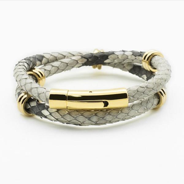 Природный Python браслет кожи ювелирных изделия для кожи питона Мужской браслет Fit б фото