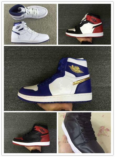 С коробкой 1 I высокая Чикагская монета золотая медаль синий белый мужчины баскетбол обувь мужская спортивная обувь кроссовки Кроссовки Оптовая 7-13