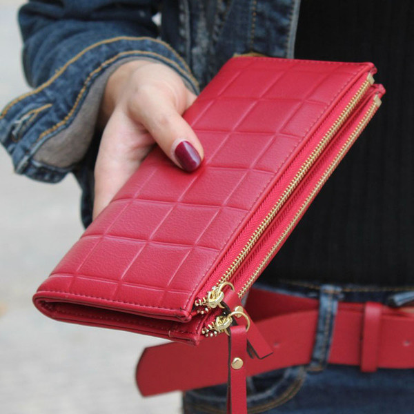 wholesale- texu stereoscopic square women wallets embossed wallet pu leather female clutch double zipper purses carteira feminia (405008567) photo