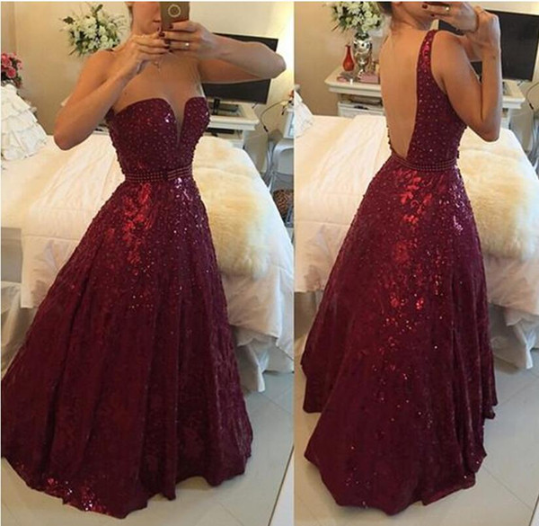 2017 Burgundy Prom Dress Backless A-line Lace Deep V-neck Beaded Elegant Special Occasion Party Gowns For Women Gothic