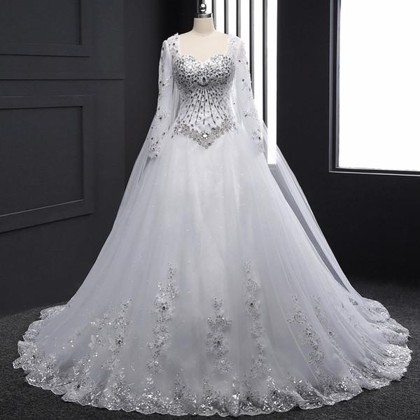 2019 Кристаллы Стразы Bling Свадебное платье с длинным рукавом Милая линия свадебное фото