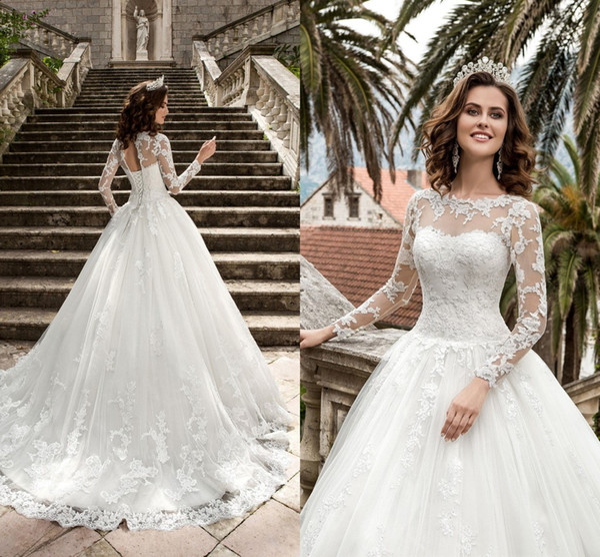 New queen ve tio de novia a line wedding dre e heer long leeve lace cor et back vintage bridal gown