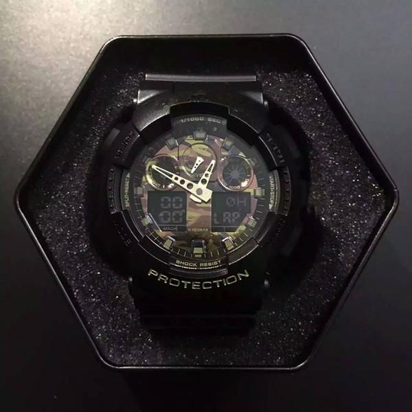 G стиль шок цифровой мужчины светодиодные Кварцевые спортивные часы резиновый ремешок армия военные кварцевые часы Часы водонепроницаемый наручные мужские Relogio Masculino 100