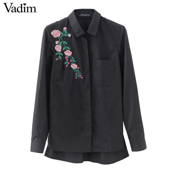 Women retro flower embroidery striped blouse long sleeve black shirts turn down collar brand ladies tops blusas LT1511