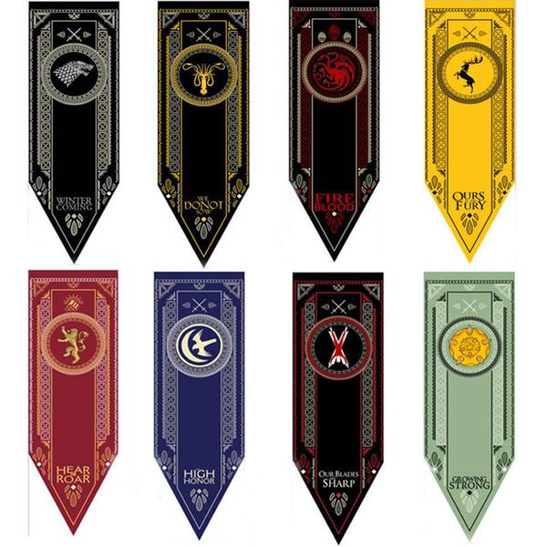 Новый атласный дом Старк баннер-Игра престолов Волк турнир Открытый баннер флаг 46 * 150 см Бейсбол флаг