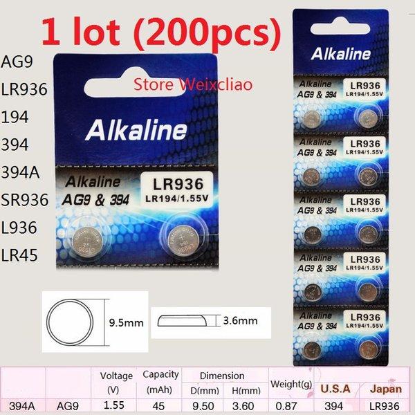 200 шт. 1 лот AG9 LR936 194 394 394A SR936 L936 LR45 1.55 В щелочная кнопка батареи батареи монеты батар фото