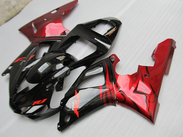 Ab pla tic fairing kit for yamaha yzf r1 2000 2001 red flame in black fairing et yzfr1 00 01 gh67