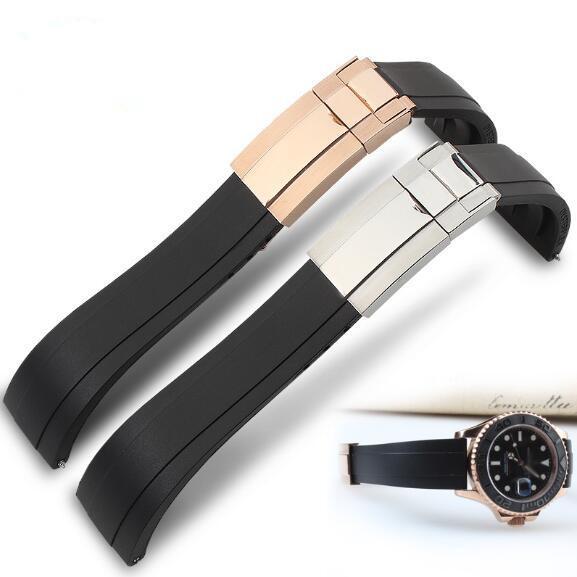 Водонепроницаемый резиновый ремешок для часов из нержавеющей стали раза пряжка ремешок для часов ремешок для Oysterflex браслет часы человек 20 мм черный