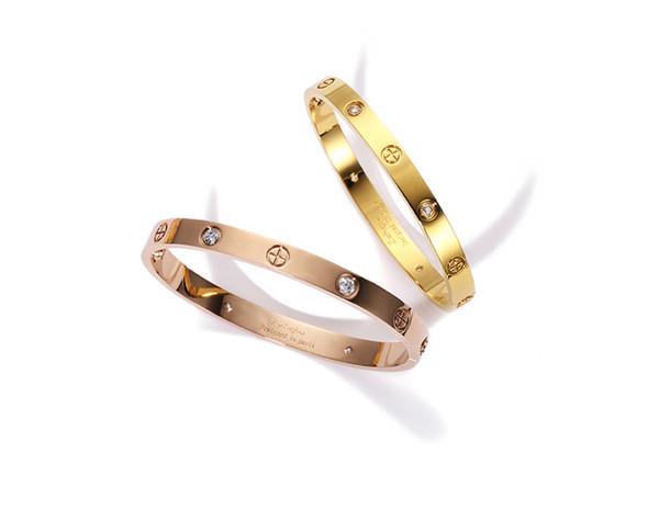 New screws never lose style silver 18k rose gold 316L stainless steel forever lovers screw bangle bracelet without screwdriver