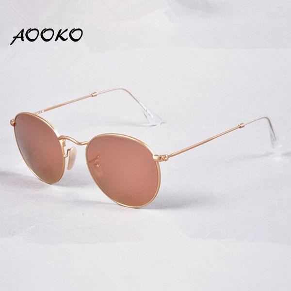 Aooko women de igner band round metal uva uvb ungla e women gla e eyewear matte gold frame pink 50mm gla mirror len e glamorou