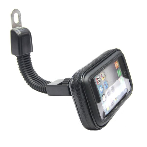 Whole ale motorcycle mobile phone holder  tand for iphone 4 5  6 plu  gp  motor rear view mirror mount   waterproof bag  oporte movil moto