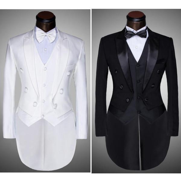 ( Jacket + Pants + Vest + Bow tie ) 2020 Fashion Men Suits Tailcoat Tuxedo Prom Groom Wedding White Black Slim Fit Male Singer