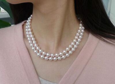Двойные нити 8-9mm Akoya белый круглый жемчуг necklace17