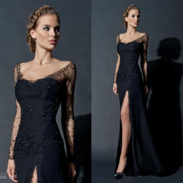 2017 Hot Sale Sexy Black Sequin Lace Long Sheer Sleeve Evening Gown Side Slit Scoop neckline Long Sleeves Celebrity Prom Dresses Custom Made