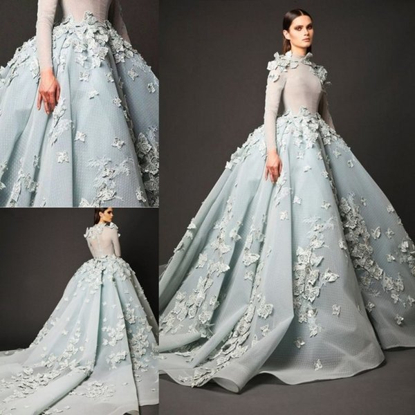 Light blue party prom dre e long illu ion evening gown with butterfly flower ball gown cocktail dre cu tom made high neck