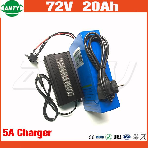 Electric bicycle battery 72v 20ah 1500w cooter lithium battery 72v with 84v 5a charger 30a bm e bike battery 72v hipping