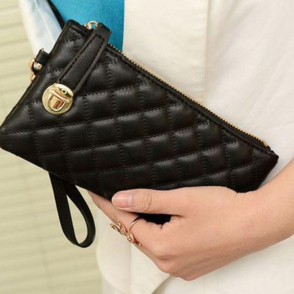 wholesale- women wallets matte leather wallet woman brand coin purse ladies long  holder coin zipper purse evening party clutch (403267495) photo