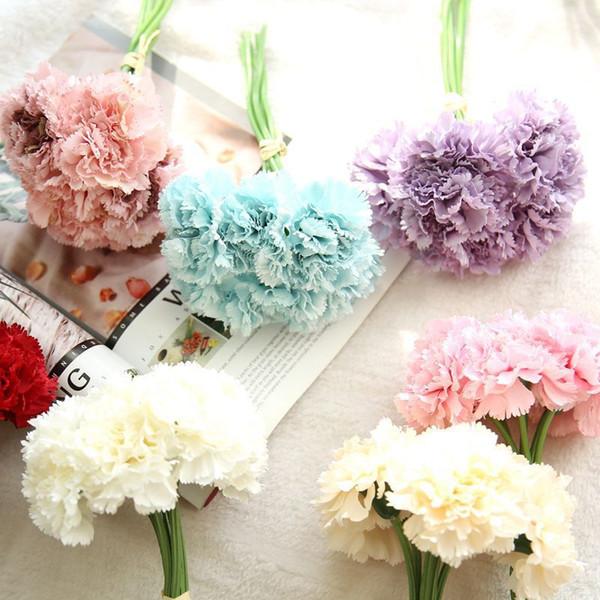 Искусственный шелк гвоздика букет с цветами на День матери цветок украшение свад фото
