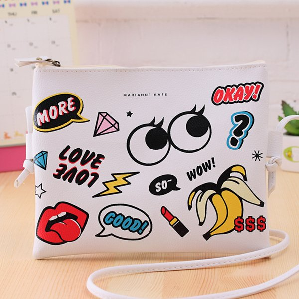wholesale- new fashion cartoon printed women graffiti handbag mini crossbody shoulder bag ladies casual purses clutches girls handbag (395816953) photo