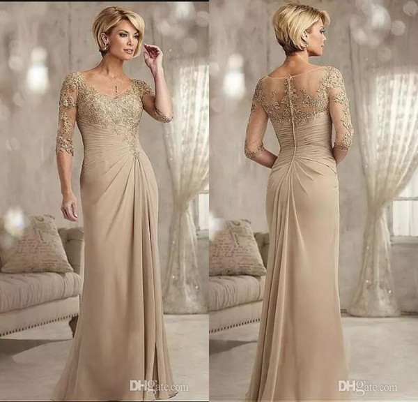Champagne mother of the groom dre e long 2017 coop neck chiffon wedding gue t dre half leeve formal evening gown